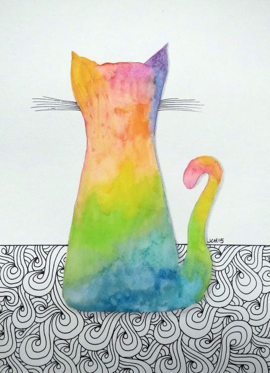 Tie Dye Cat with Swirls - Image 0