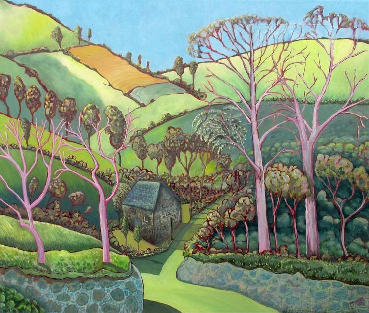 English Landscape with Stone Cottage. - Image 0
