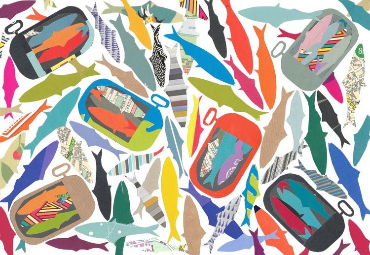 Sardines  (Hand Cut Collage) Original Picture - Image 0