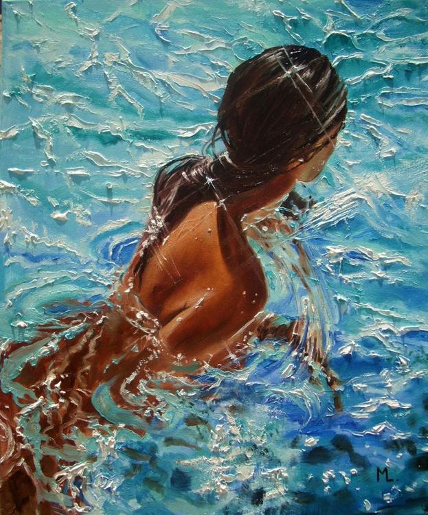 """ SUMMER TIME :) "" SEA original painting palette knife GIFT MODERN URBAN ART OFFICE ART DECOR HOME DECOR GIFT IDEA - Image 0"