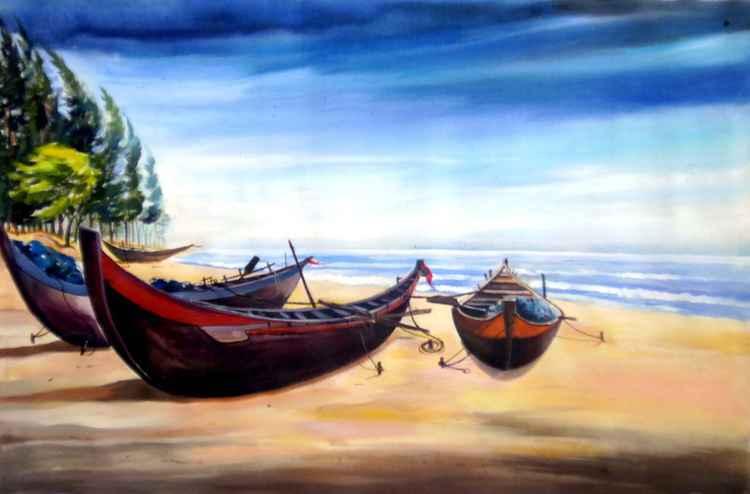 Fishing Boats at Seashore-Acrylic on canvas -