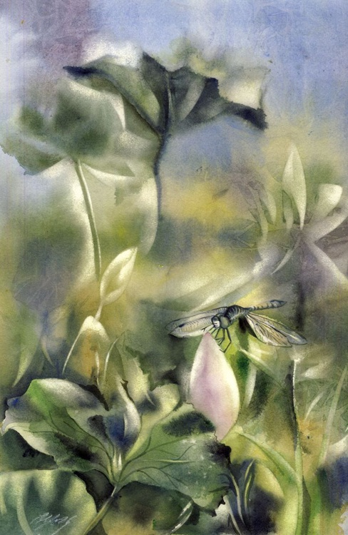 Dragonfly with lotus - Image 0