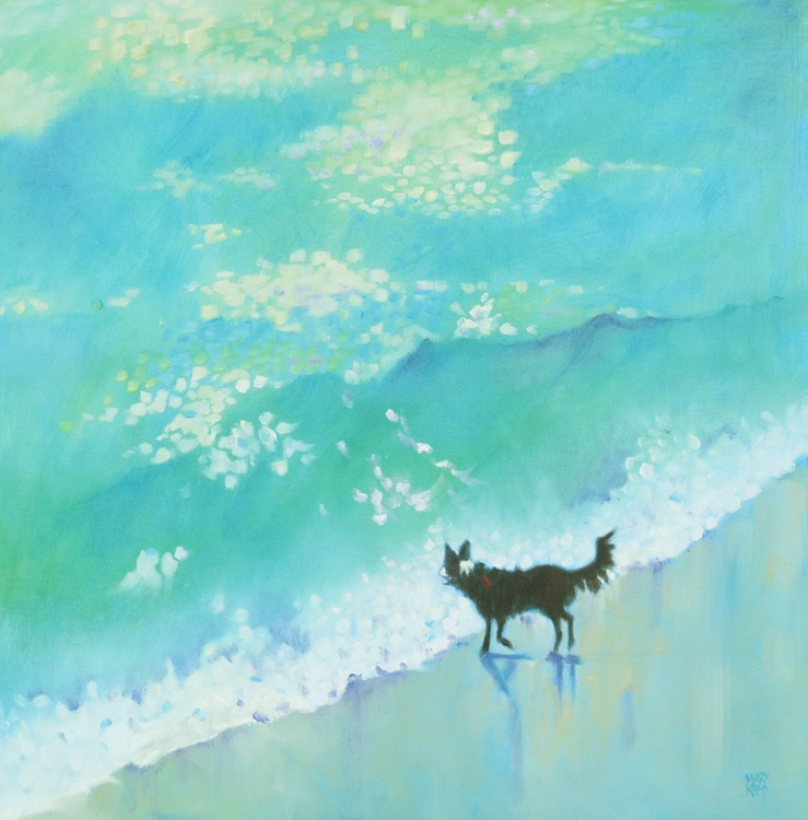 Jade Green Sea and a Border Collie - Image 0