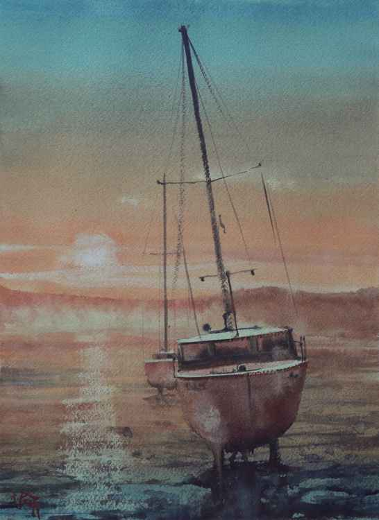 River Exe sunset, Devon England -