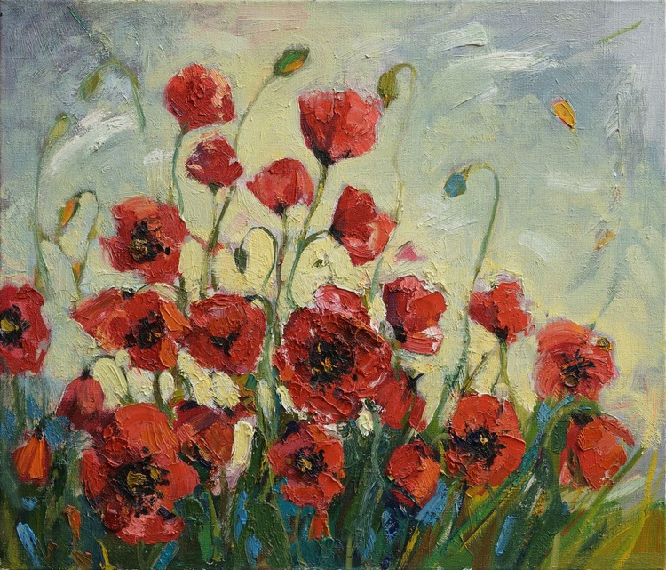 Poppies painting Original oil painting on canvas - Image 0