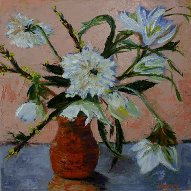 White Flowers in a Orange Vase