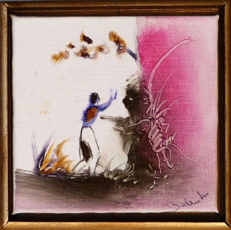 NO !, miniature oil painting on canvas 11x11 cm framed and ready to hang, with a surprise drawing - Image 0