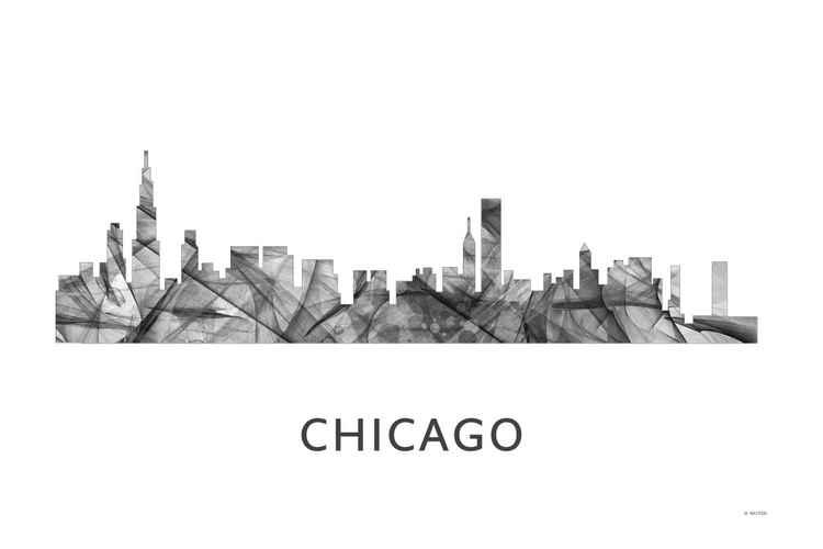 Chicago Illinois Skyline WB BW -