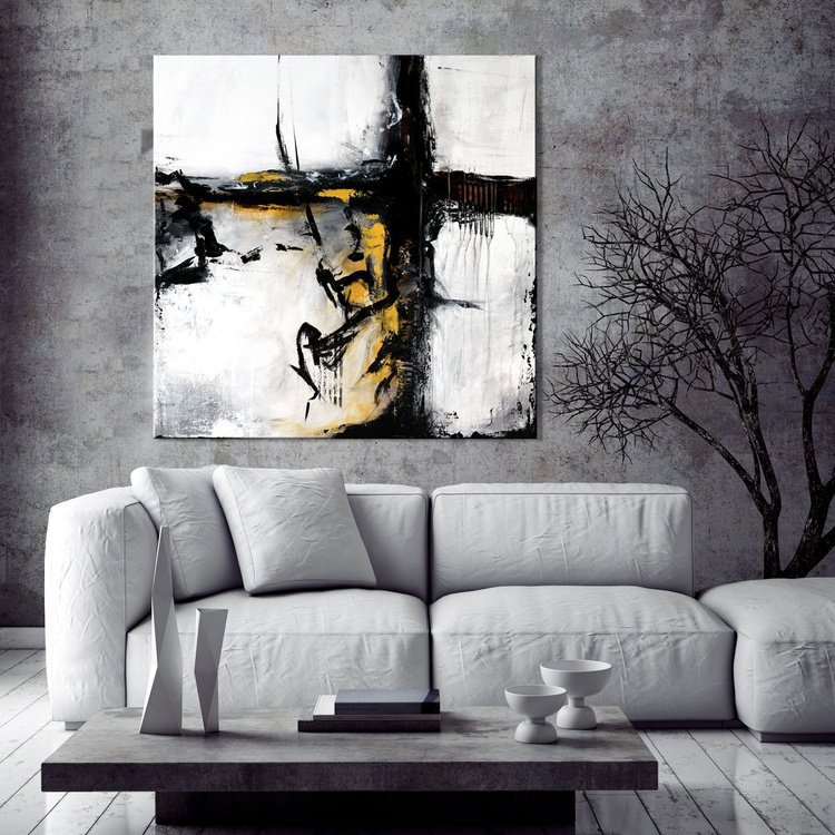 """""""Crossing Roads """" 36"""" Large Abstract  Minimalist Art Painting, Original Contemporary modern Palette Knife  White, Black , Grey - Image 0"""