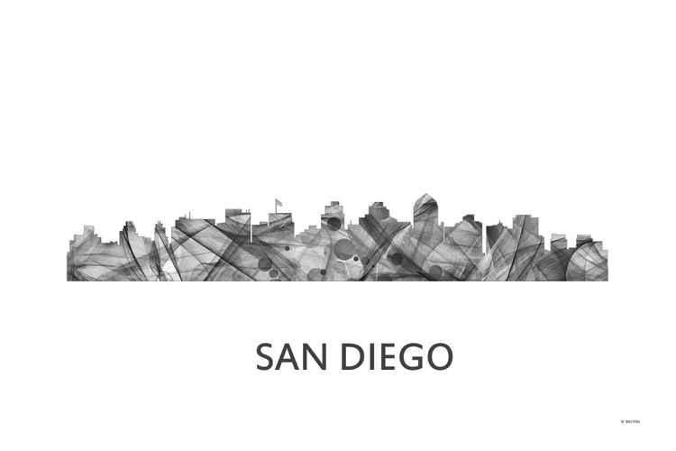 San Diego California Skyline WB BW