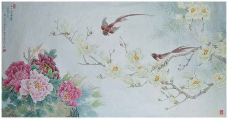 Magnolia Flowers, Peonies and Paradise Flycatchers in the Spring - Original painting by Qin Shu -