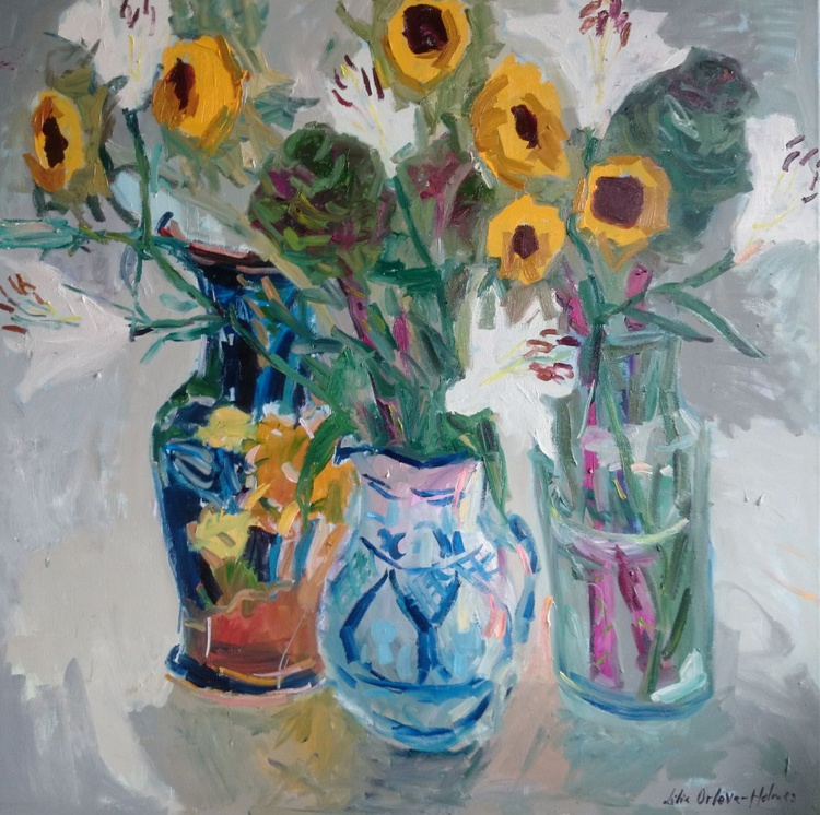 Still life with sunflowers, cabbages and white lilies. - Image 0