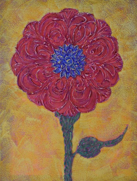 Red Impasto Flower - Image 0