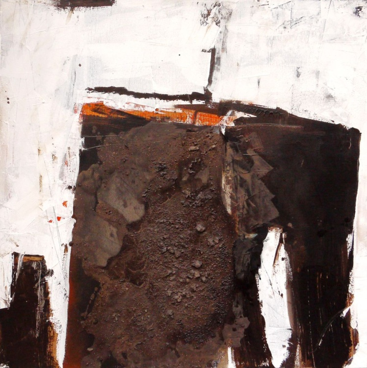 The Gateway | abstract | brown white orange | Acrylic, Mixed Media, Collage - Image 0