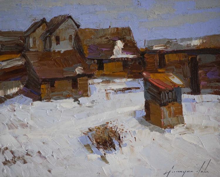 Village Yard Handmade oil Painting on Canvas Signed - Image 0