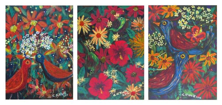 Set of 3 tropical Bird paintings - Image 0