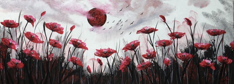 Blood moon and red poppies - Image 0