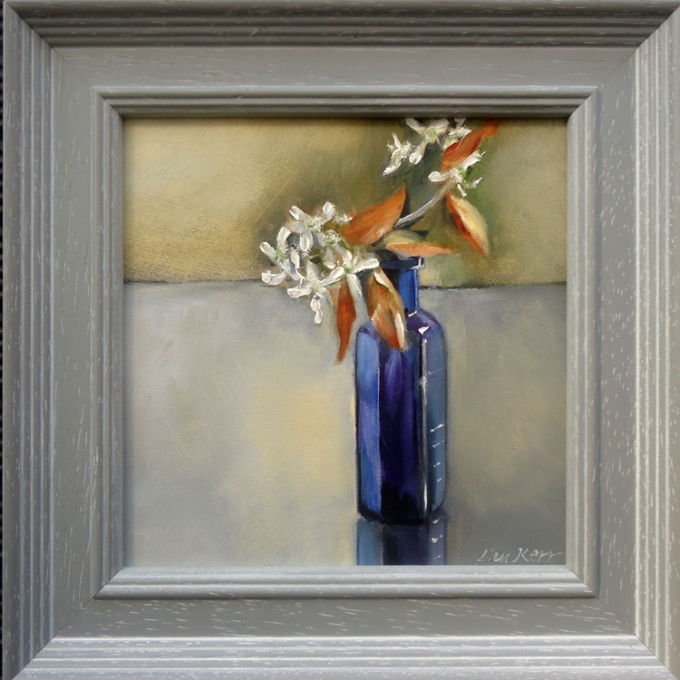 Blossoms in a blue bottle - Image 0