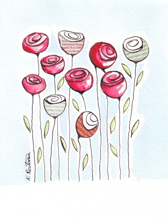 Red and White roses, Mixed Media Flower series - Image 0