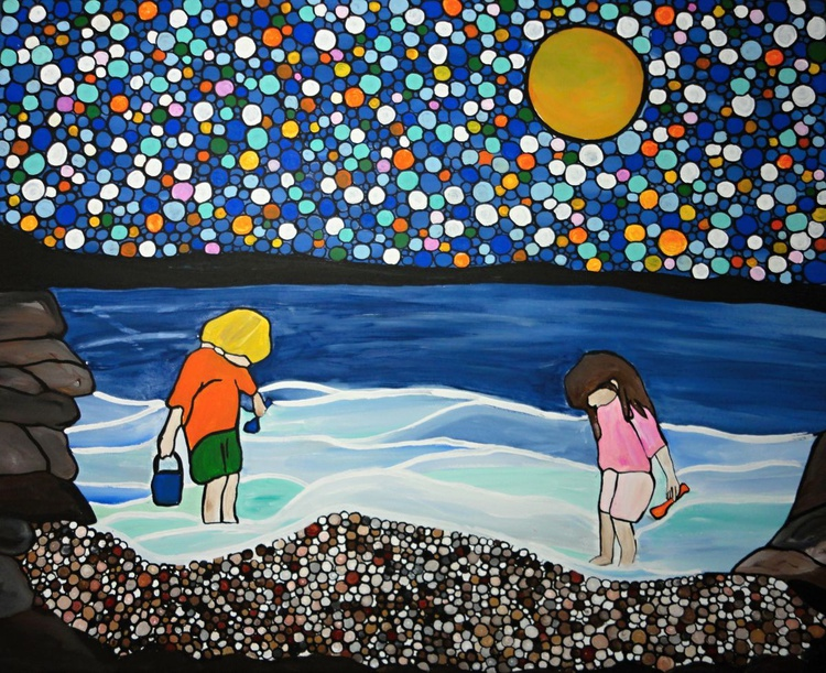 Beach Combing 16''x20'' framed, ready to hang and adore - Image 0
