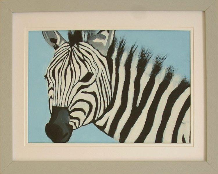 Zebra - framed Acrylic painting by Andrew Snee | Artfinder