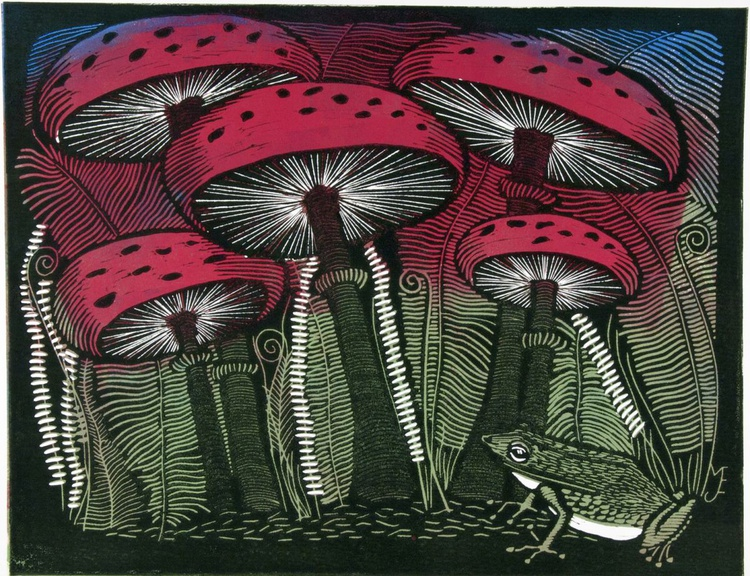 King of Toadstools, 2 plate linocut - Image 0