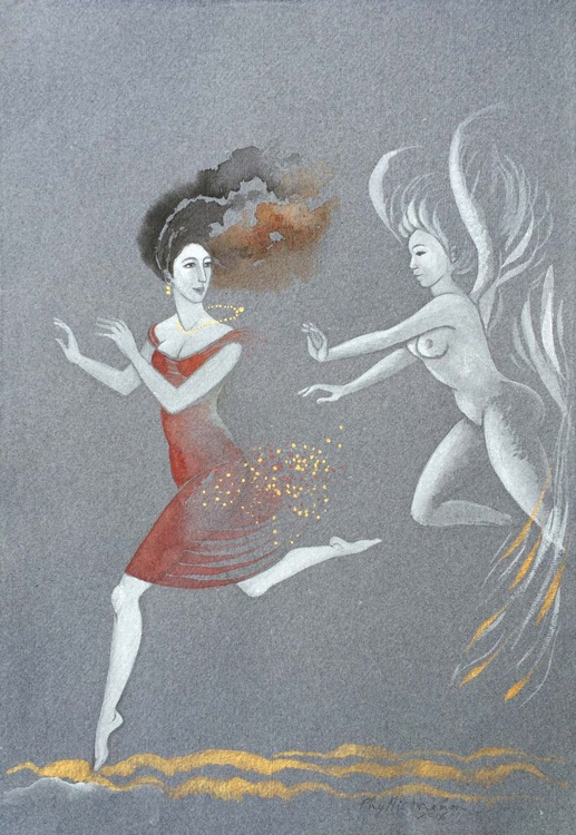 Woman, playfully pursued by an angel - Image 0