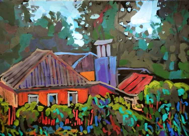 red house,  gouache painting, 70x50 cm -