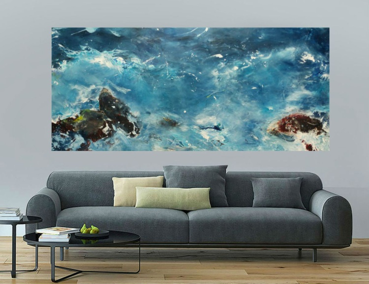 Night surf. Seascape, 90x200cm, the big picture - Image 0