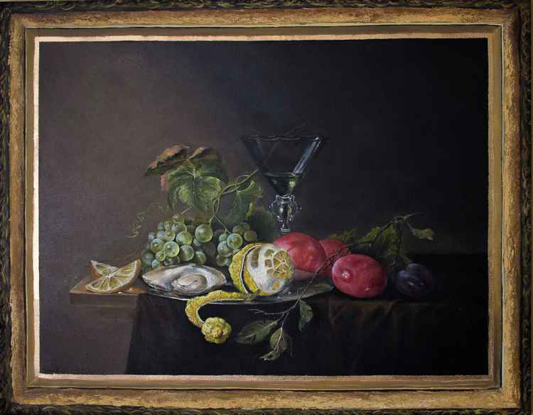 Classical still life with a painted frame.