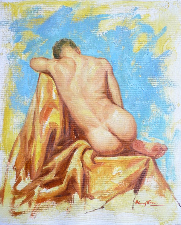 Original Oil painting art male nude  on linen  #16-10-5-02 - Image 0
