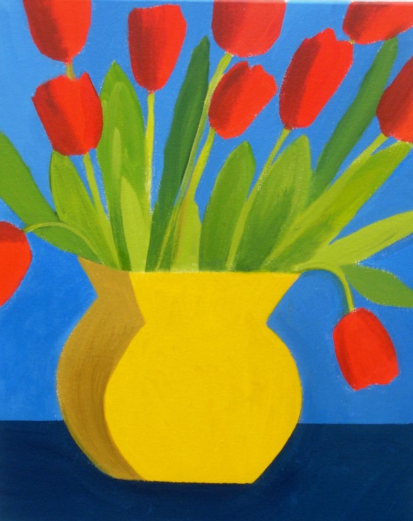 Tulips in a Yellow Vase - Image 0