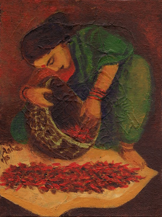 Indian woman drying red chillies in the sun Original Art - Image 0