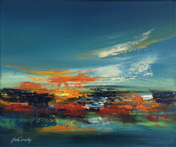 Red Horizon III. - 25 x 30 cm, abstract oil painting in blue and orange - Image 0