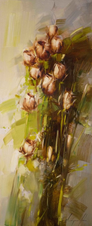 Bouquet of Roses Original oil Painting Contemporary - Image 0