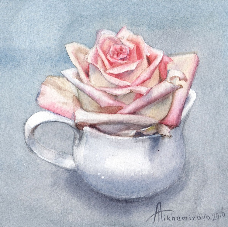 Rose in a Cream Jug (Shabby Chic collection) - Image 0