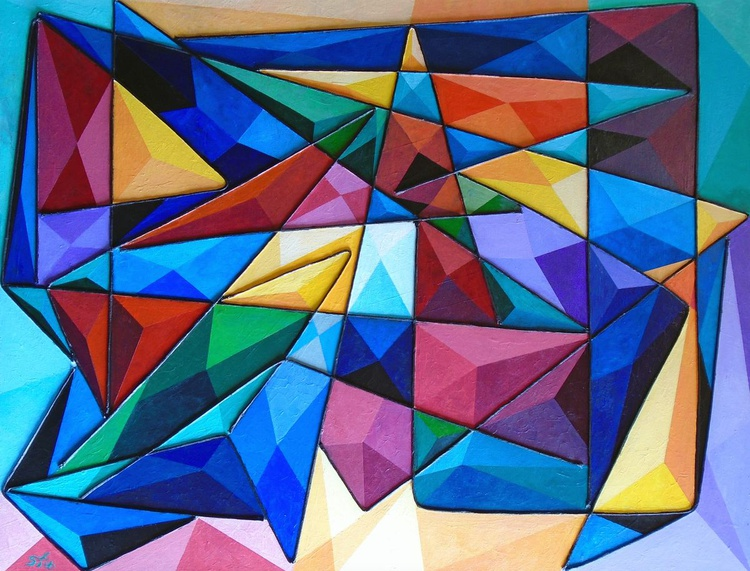 Meteor - Large 100cm by 75cm (40in by 30in) contemporary, geometric, abstract, mixed media painting - Image 0