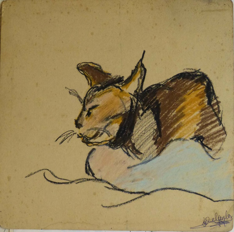 Portrait of a cat, pastel drawing on cardboard 35x35 cm - Image 0