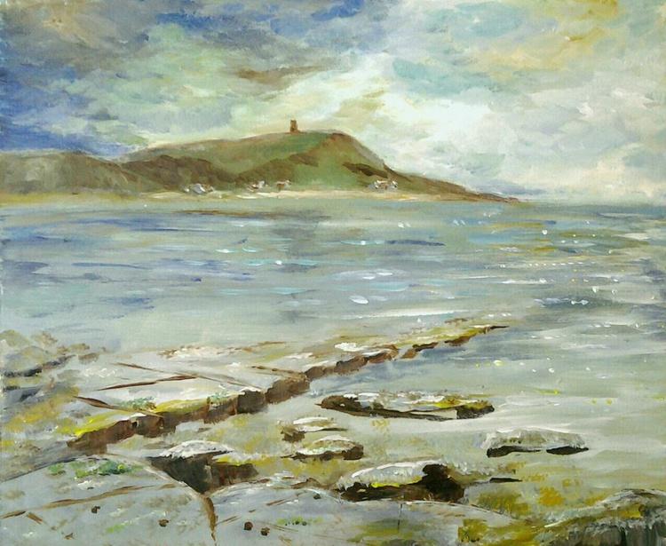 """WATCHING THE BAY"", acrylic 30.5x25.5cm - Image 0"