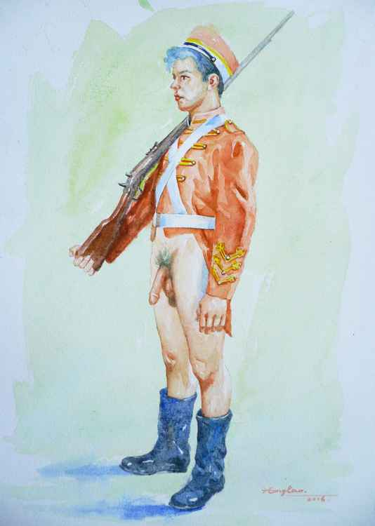 original art watercolour painting solider of male nude  on paper #16-4-27 -