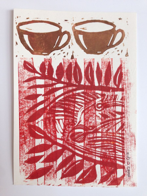 "Series ""LittleKitchenArt"": 2 Cups On Tablerunner - Image 0"