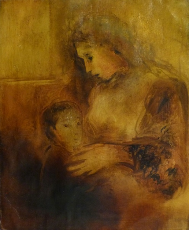 Mother and Son 3, oil on canvas 55x46 cm - Image 0