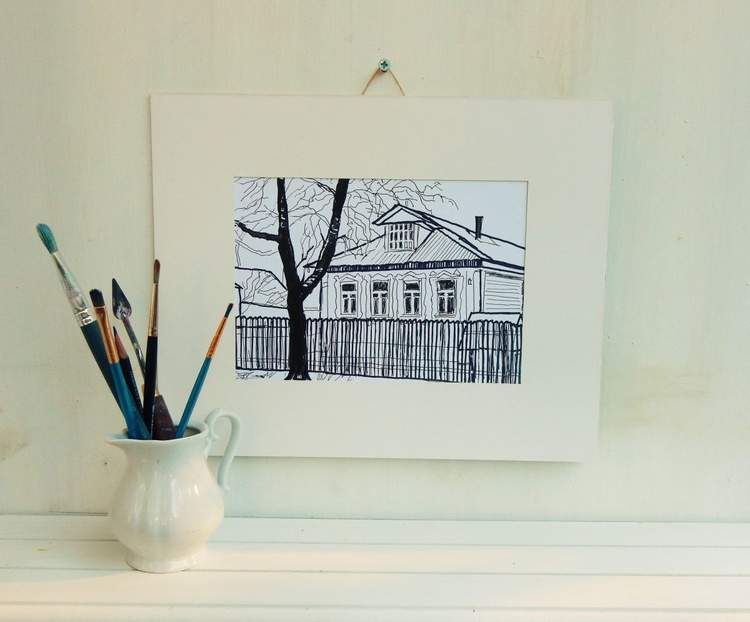 Black and White drawing.Village,fence,house - Image 0