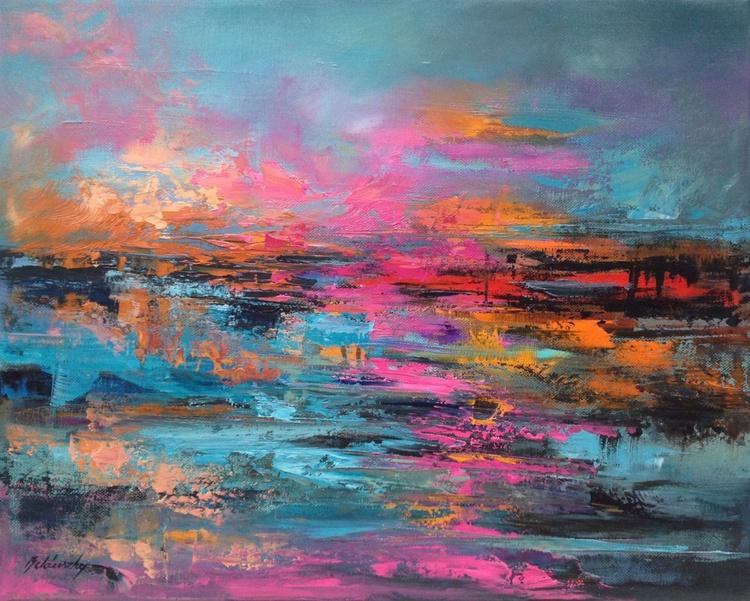 Colour Rhapsody - 40 x 50 cm, abstract landscape oil painting, blue, purple, magenta, orange - Image 0