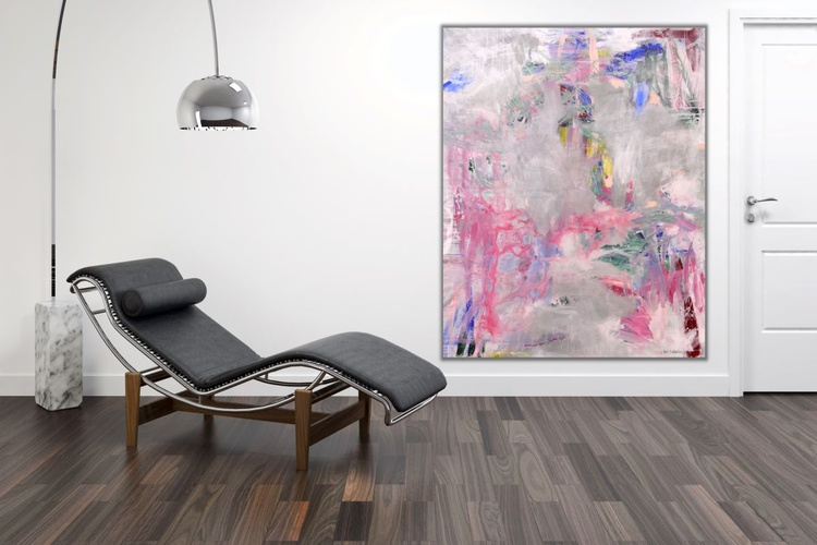 Rainy Day (Yesterday) | extra large abstract painting | 200 x 160 cm | white grey pink blue green red - Image 0