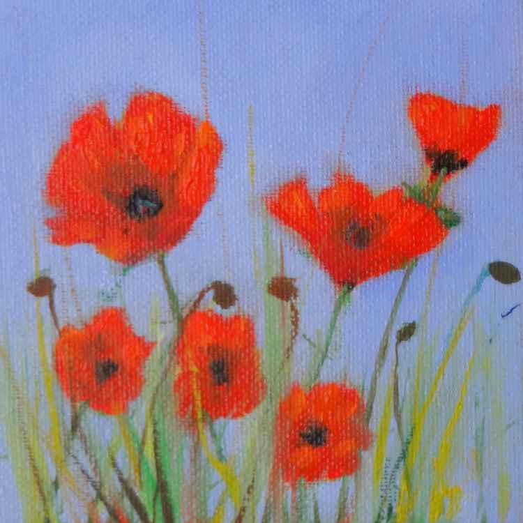 Poppies in a Field with a Violet Sky -