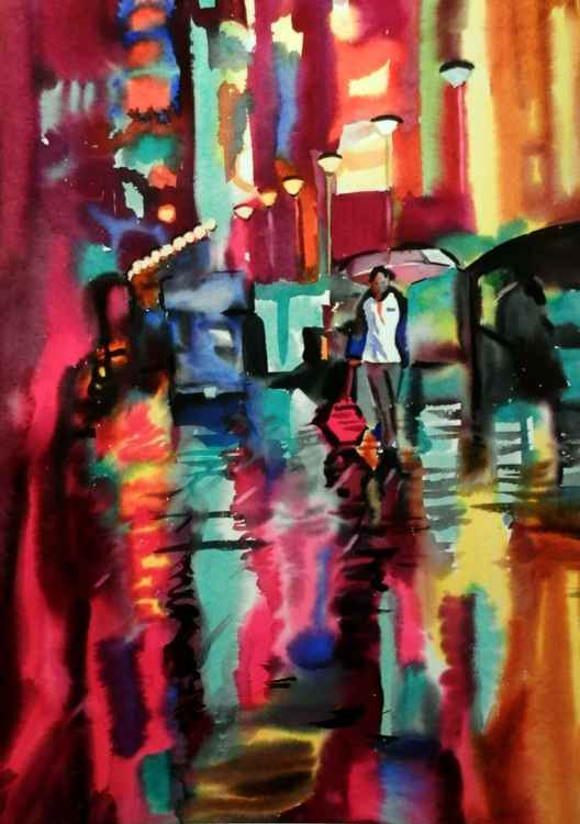 One night in the city, watercolor painting 68x98 cm -
