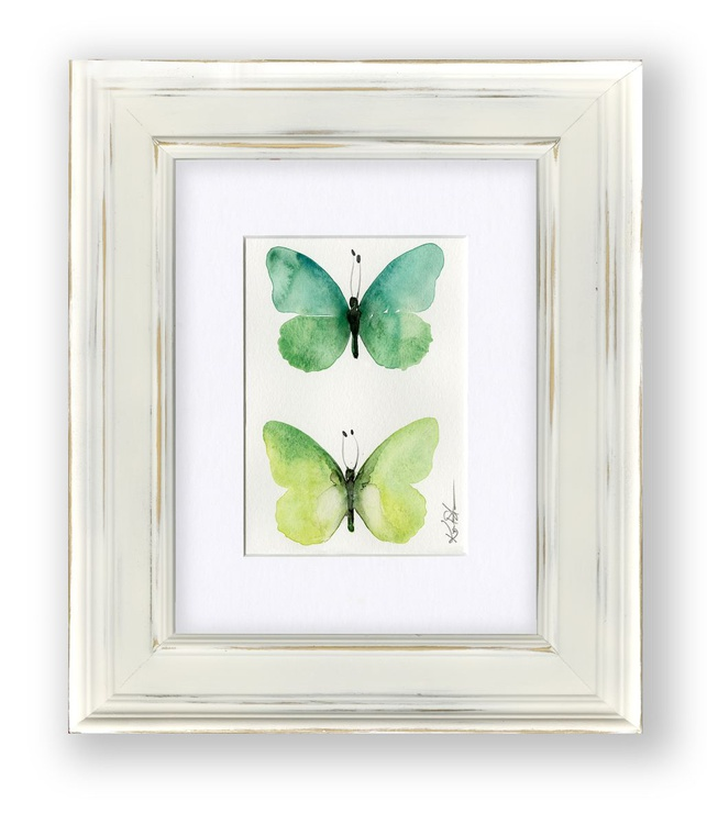 Shabby Chic Butterfly Watercolor Painting No. 2 by Kathy Morton Stanion - Image 0