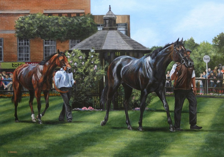 Across the Parade Ring, July Course, Newmarket - Image 0