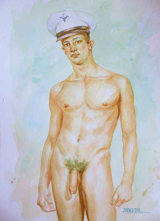 original watercolour painting  artwork  soldier of male nude on paper#16-8-14 -